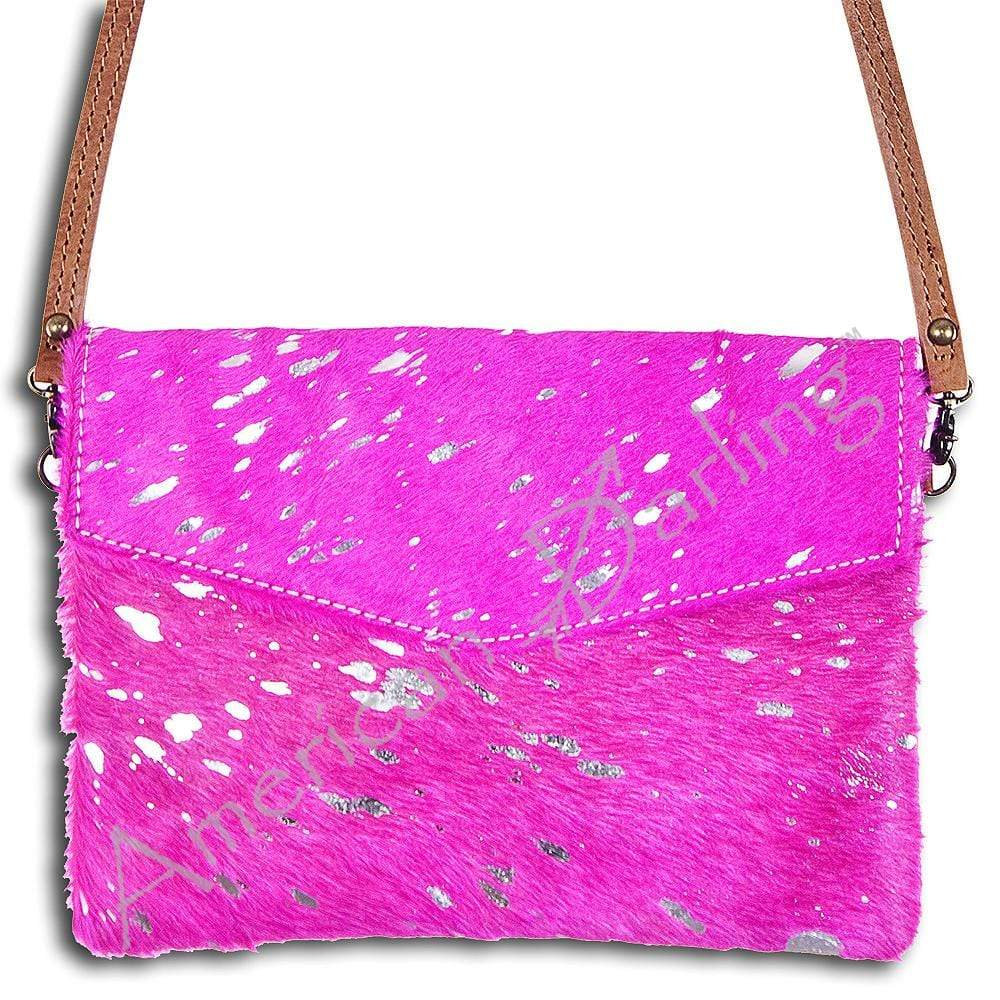 American Darling Handbags Pink Hide On Envelope Crossbody / Clutch