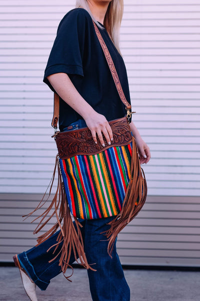 American Darling Handbags Striped Saddle Blanket Purse With Fringe and Leather Detail