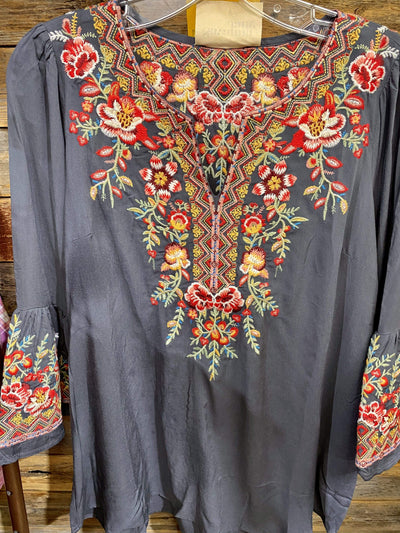 Andre by Unit Dressy Floral Embroidered Bell Sleeve Blouse - Charcoal