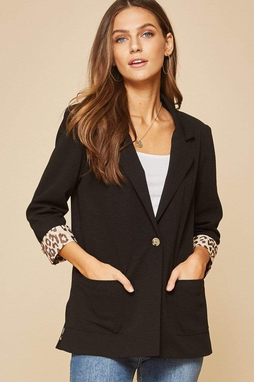 Andree by Unit Blazers Blazer- Black With Leopard Lining