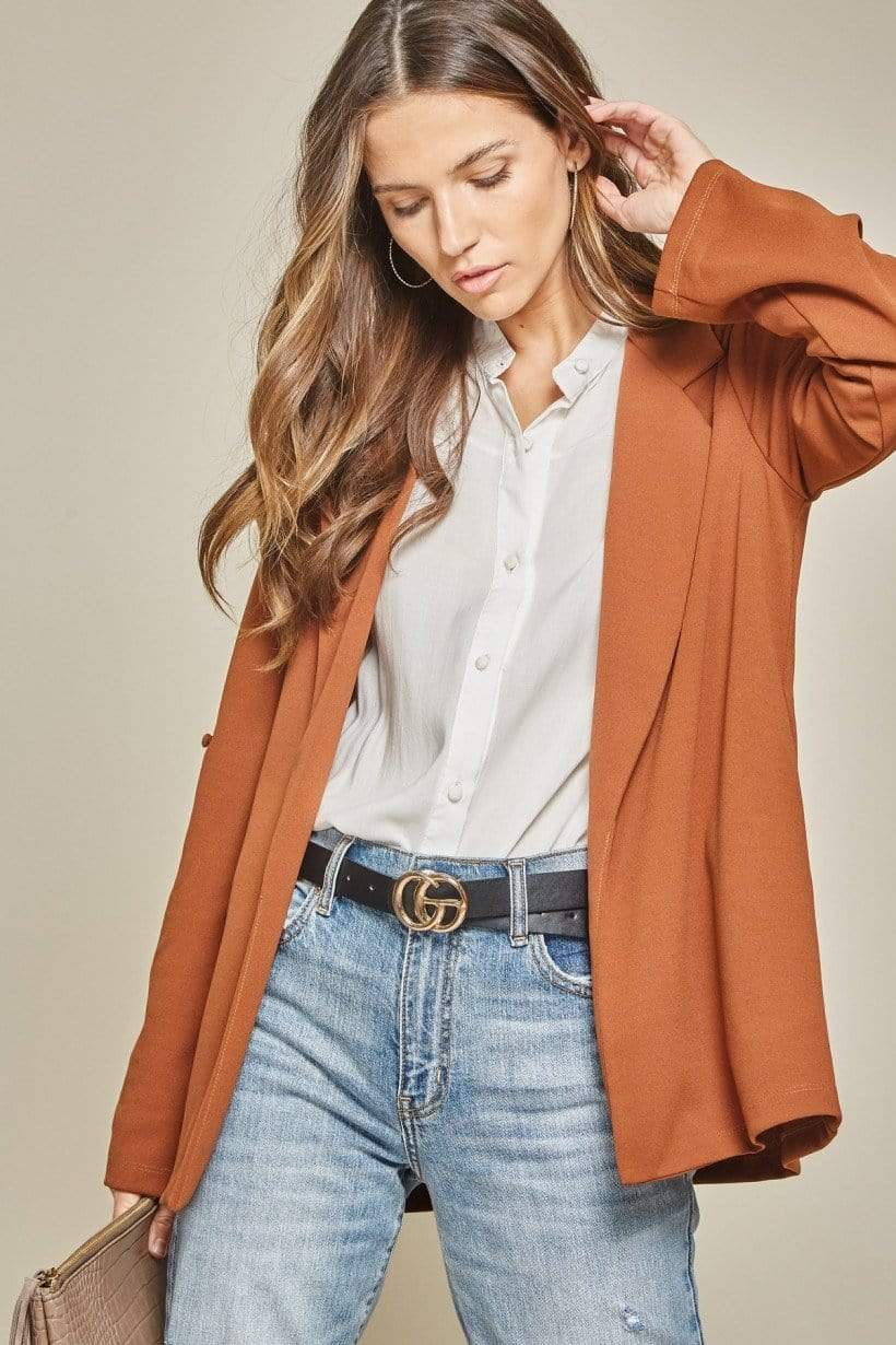 Andree by Unit Blazers Boyfriend Fit Blazer - Chestnut