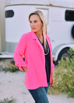 Boyfriend Fit Blazer - Hot Pink