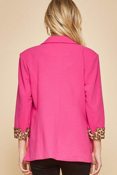 Andree by Unit Blazers Jacket - Hot Pink With Leopard Lining
