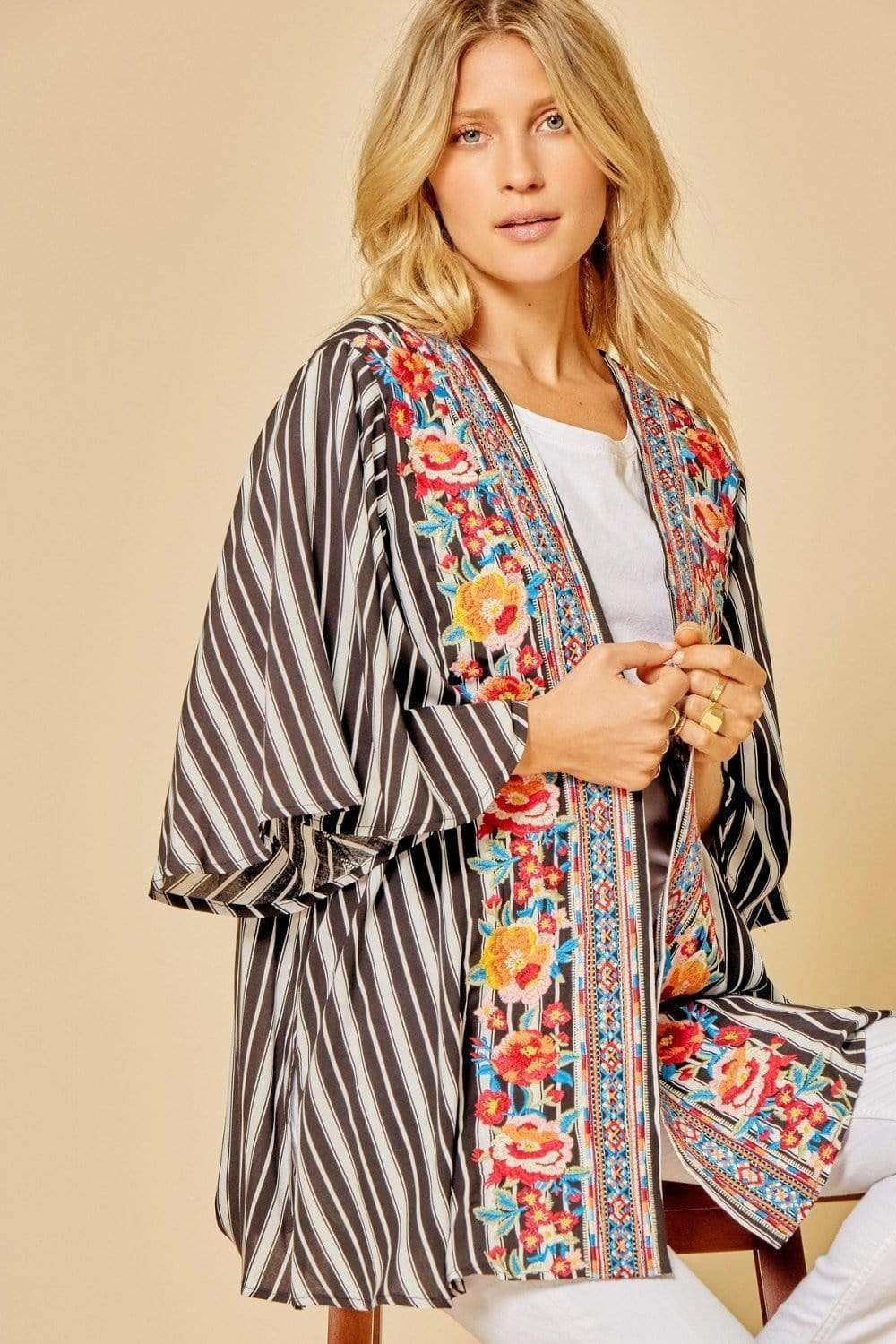 Striped Floral Embroidered Kimono