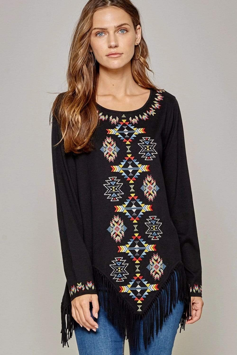 Andree by Unit Casual Fringe Blouse With Geo Design-Black