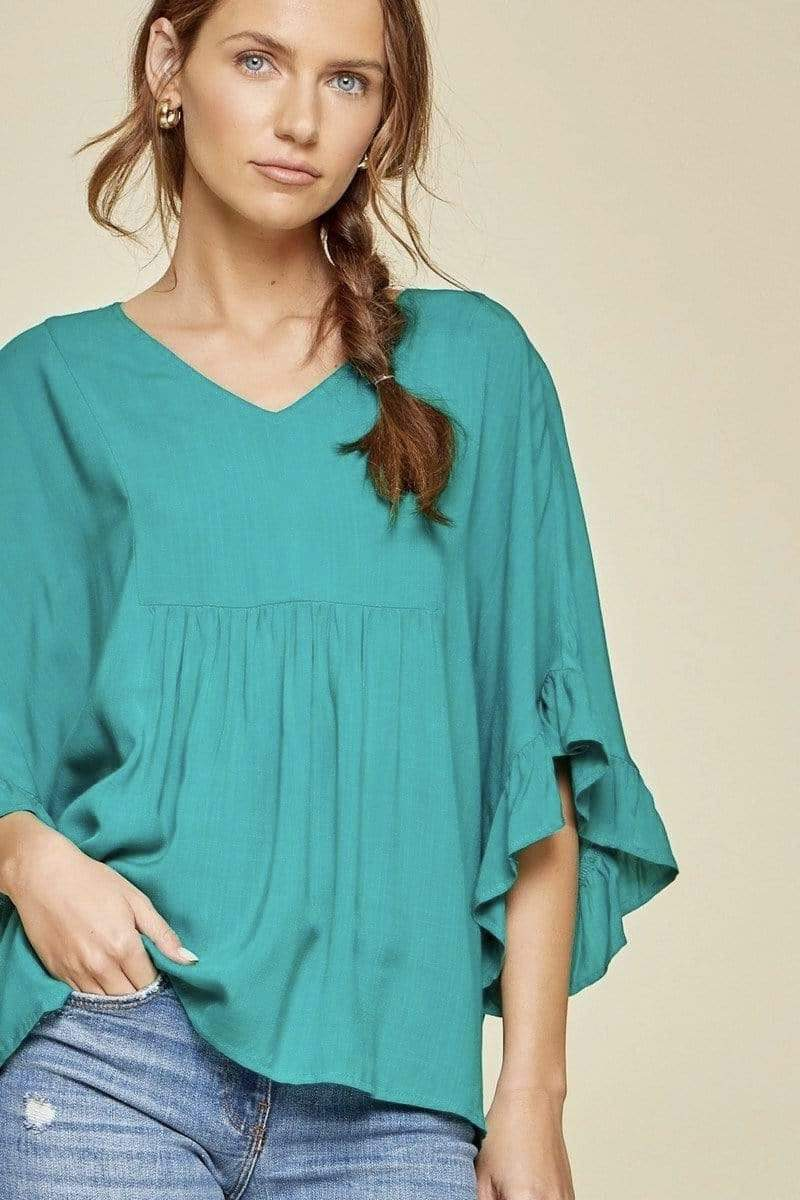 Kelly Green Ruffle V Blouse