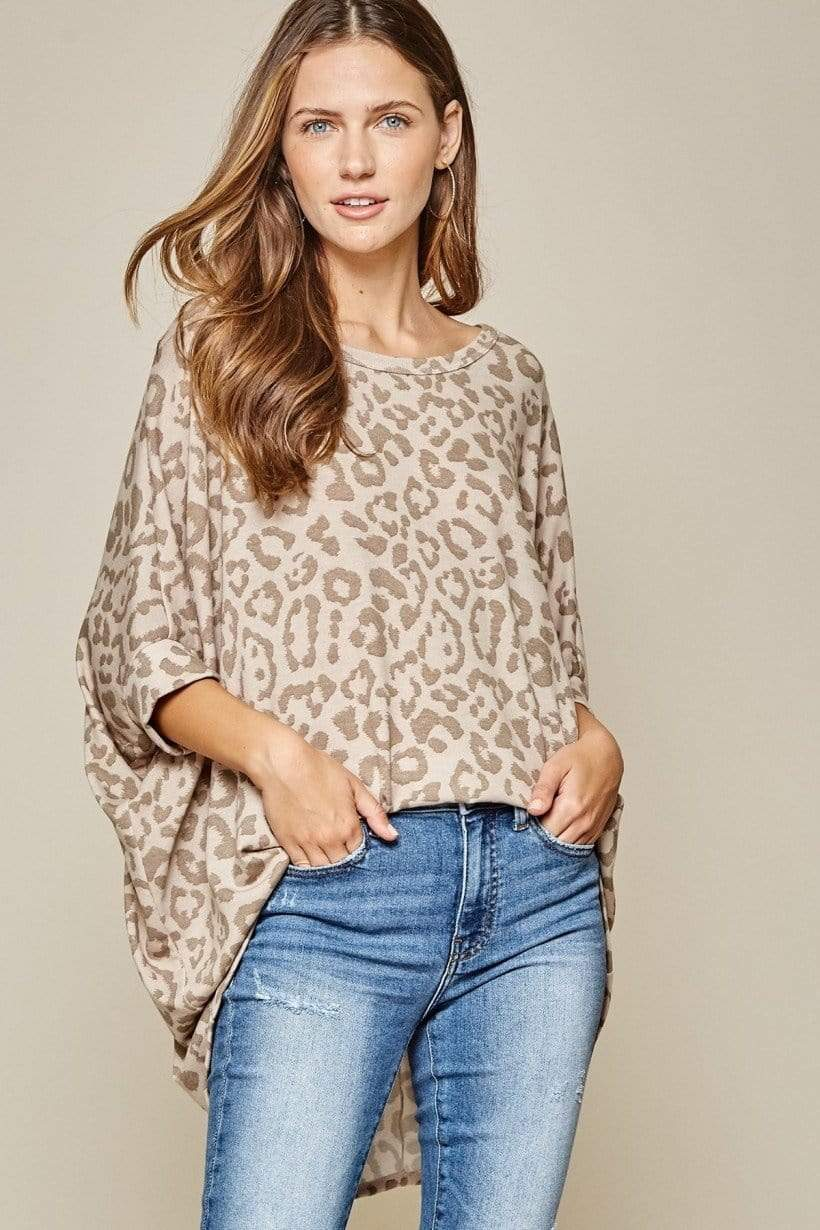 Leopard Boat Neck Dolman Top