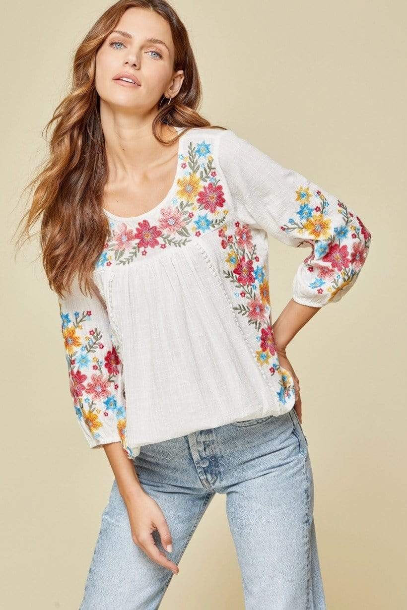 Mercedes Ivory Embroidered Long Sleeve Top