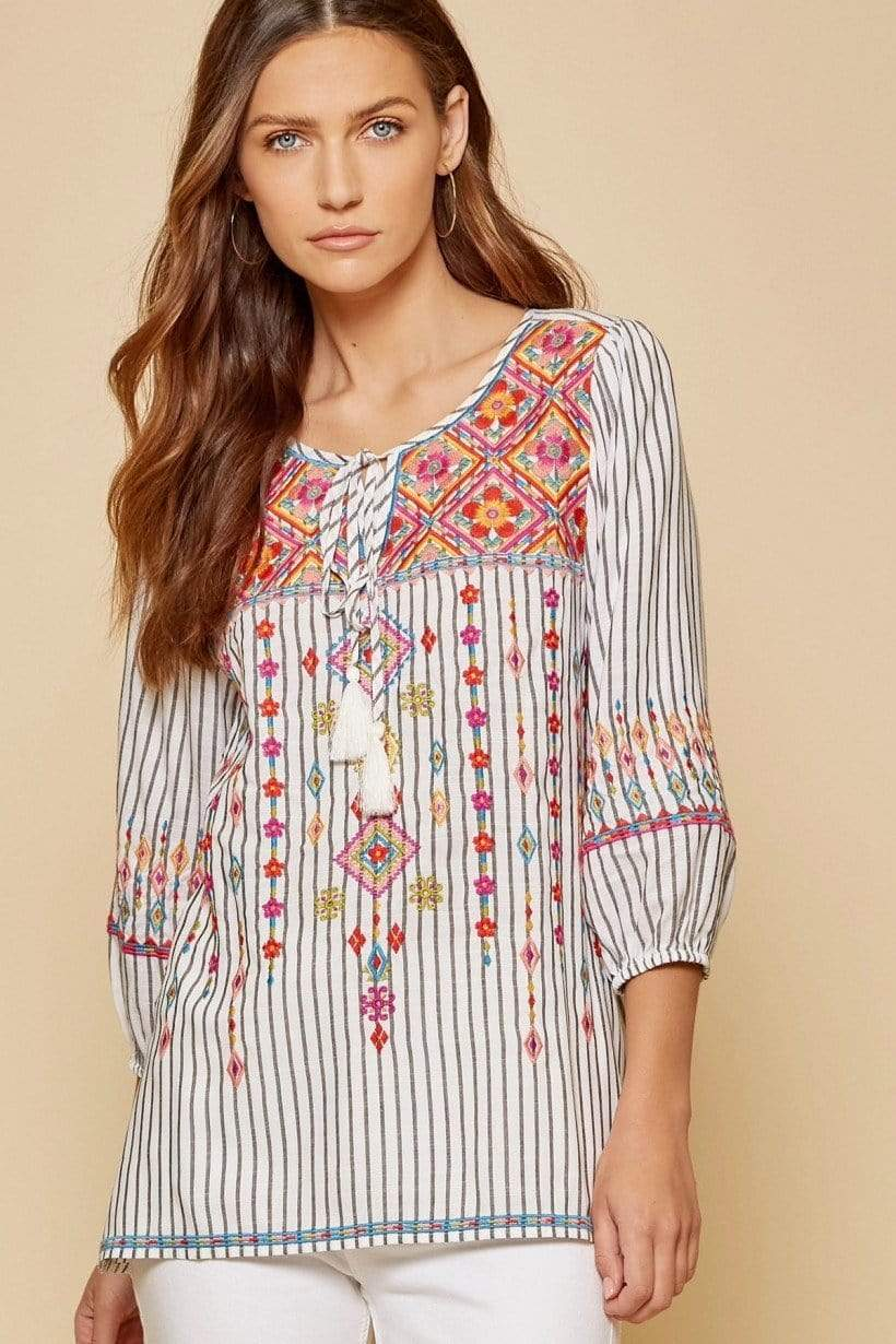 Savannah Striped Embroidery Top