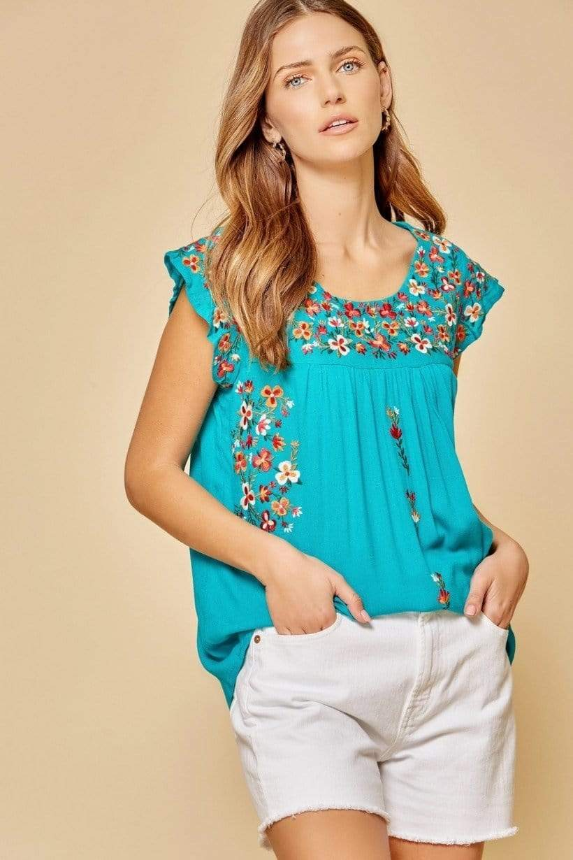 Shawna Teal Embroidery Top