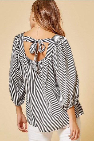 Andree by Unit Casual Striped Black Ivory Top