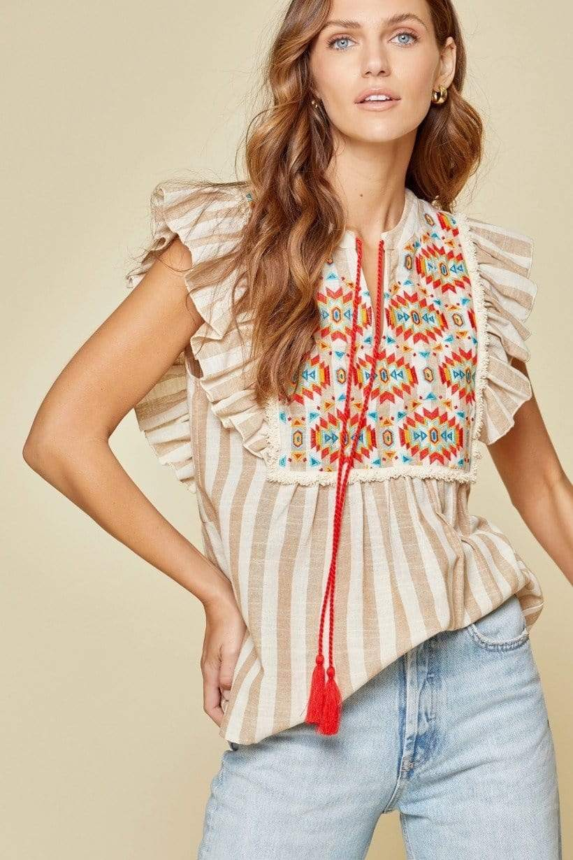 Tucson Aztec Embroidery Top