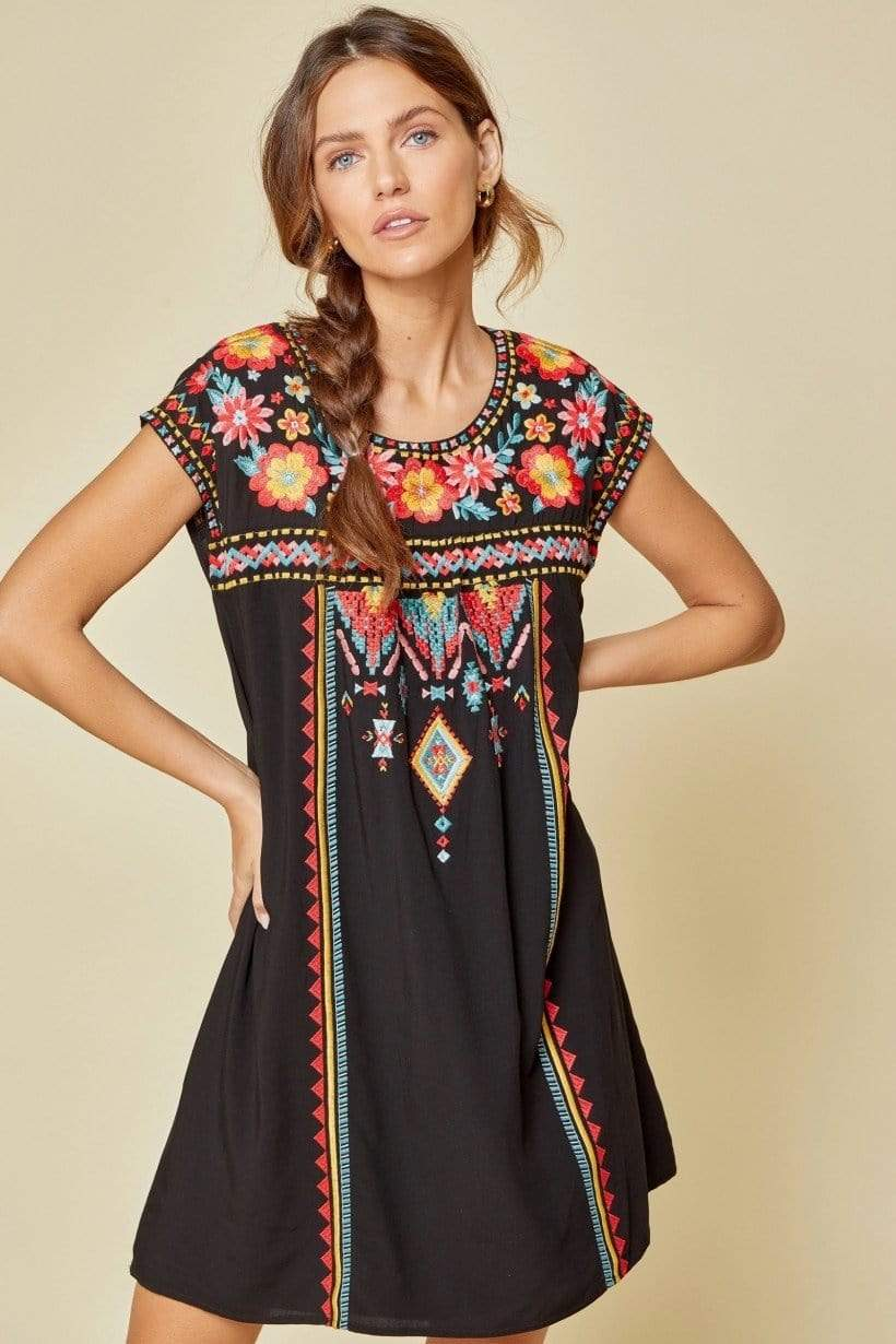 Kelly Black Sleeveless Embroidered Dress