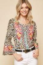 Andree by Unit Dressy Embroidered Bell Sleeve Top- Leopard