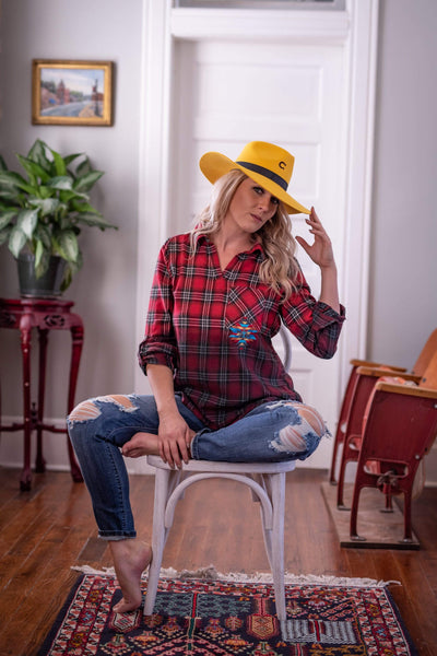 Andree by Unit Dressy Embroidered Chief Plaid Top