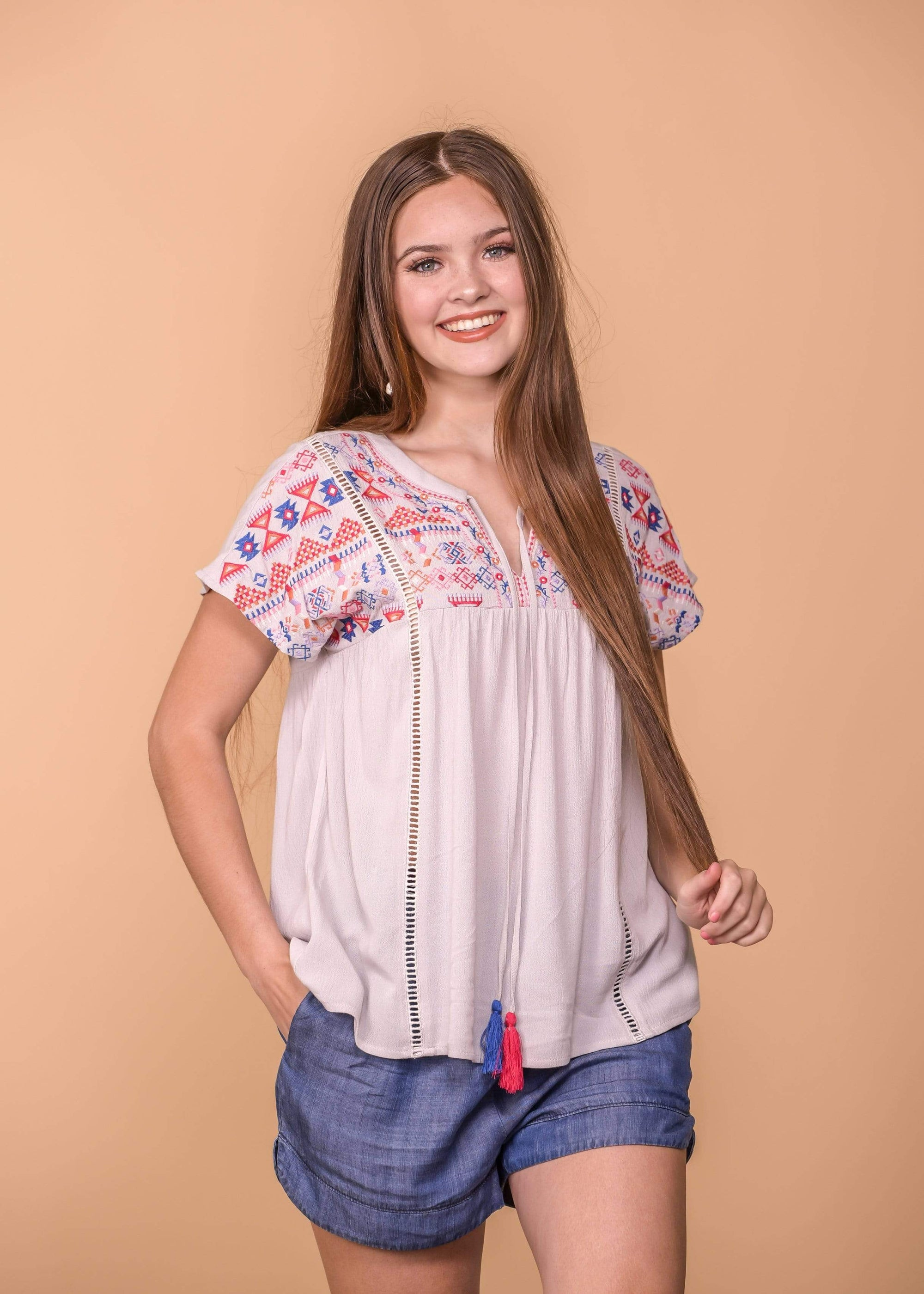 Embroidered Dolman Sleeve Top - Light Grey