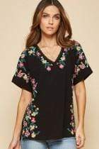 Andree by Unit Dressy Embroidered Short Sleeve Top - Black