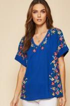 Andree by Unit Dressy Embroidered Short Sleeve Top- Royal