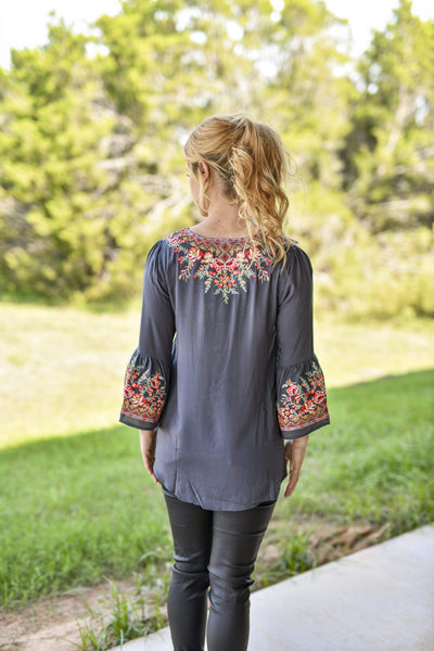 Andree by Unit Dressy Floral Embroidered Bell Sleeve Blouse - Charcoal