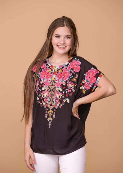 Andree by Unit Dressy Floral Embroidered Short Sleeve Top - Black