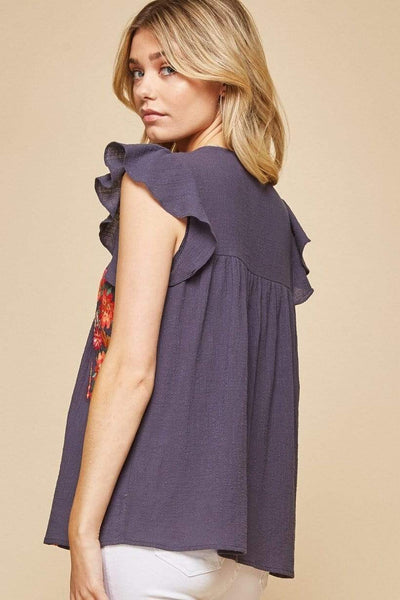 Andree by Unit Dressy Flutter Sleeve Embroidered Tank Top- Denim