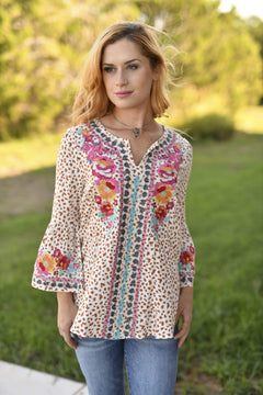 Leopard Embroidered Bell Sleeve Blouse