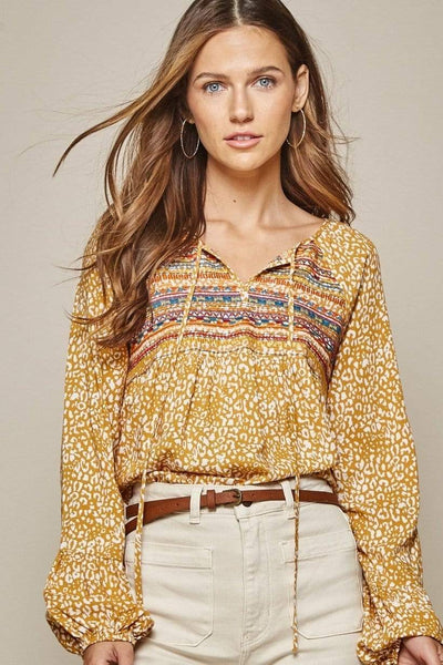 Andree by Unit Dressy Leopard Print Embroidered Top - Marigold