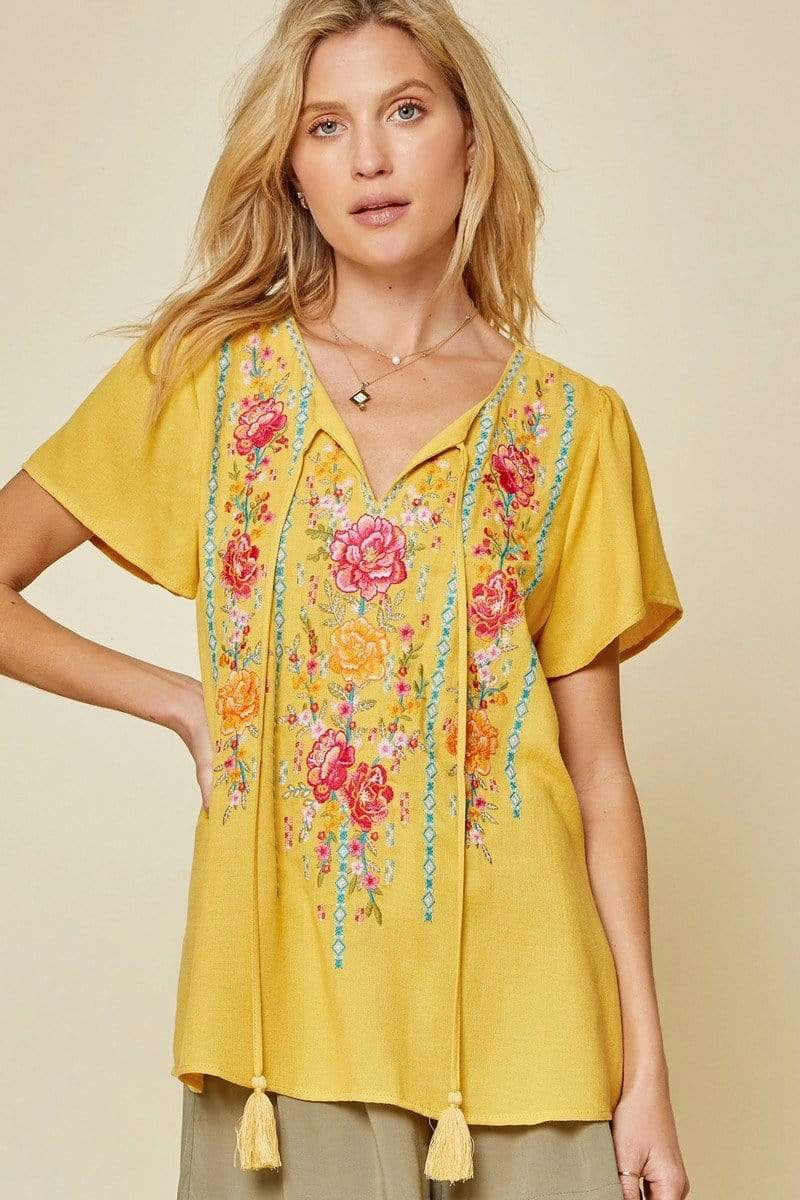 Mildred Embroidered V Neck Blouse