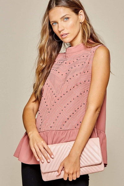 Andree by Unit Dressy Mock Stud & Embroidered Blouse - Blush