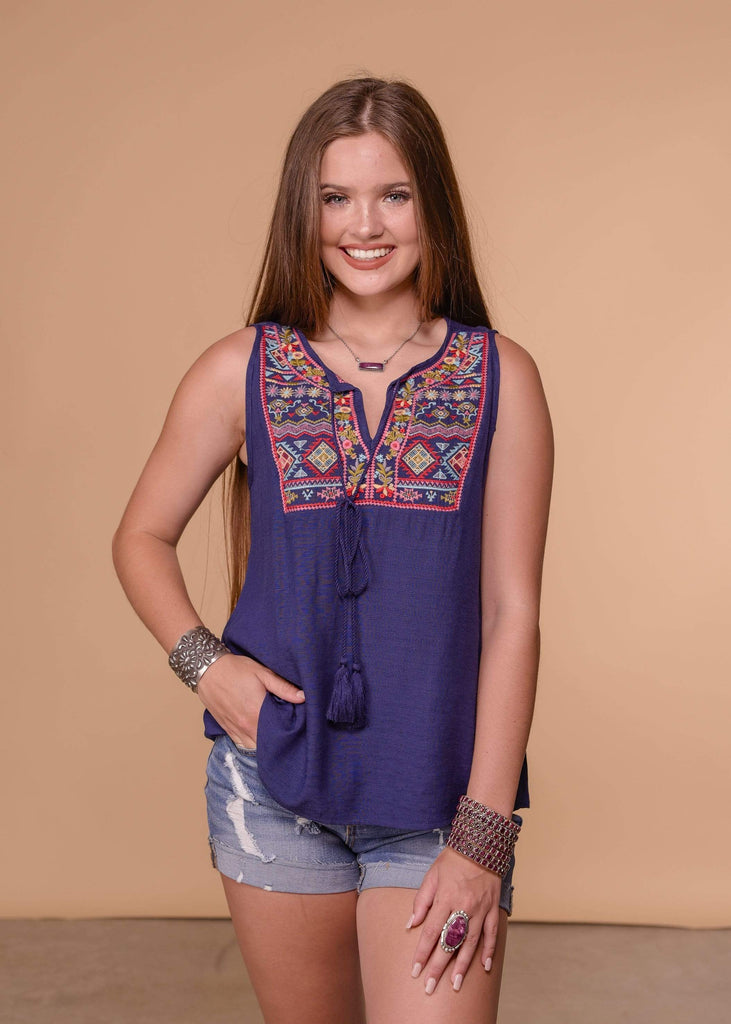 Andree by Unit Dressy Navy Embroidered Sleeveless Top