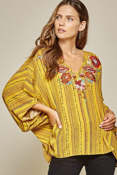 Andree by Unit Dressy Poncho V-Neck Top-Marigold