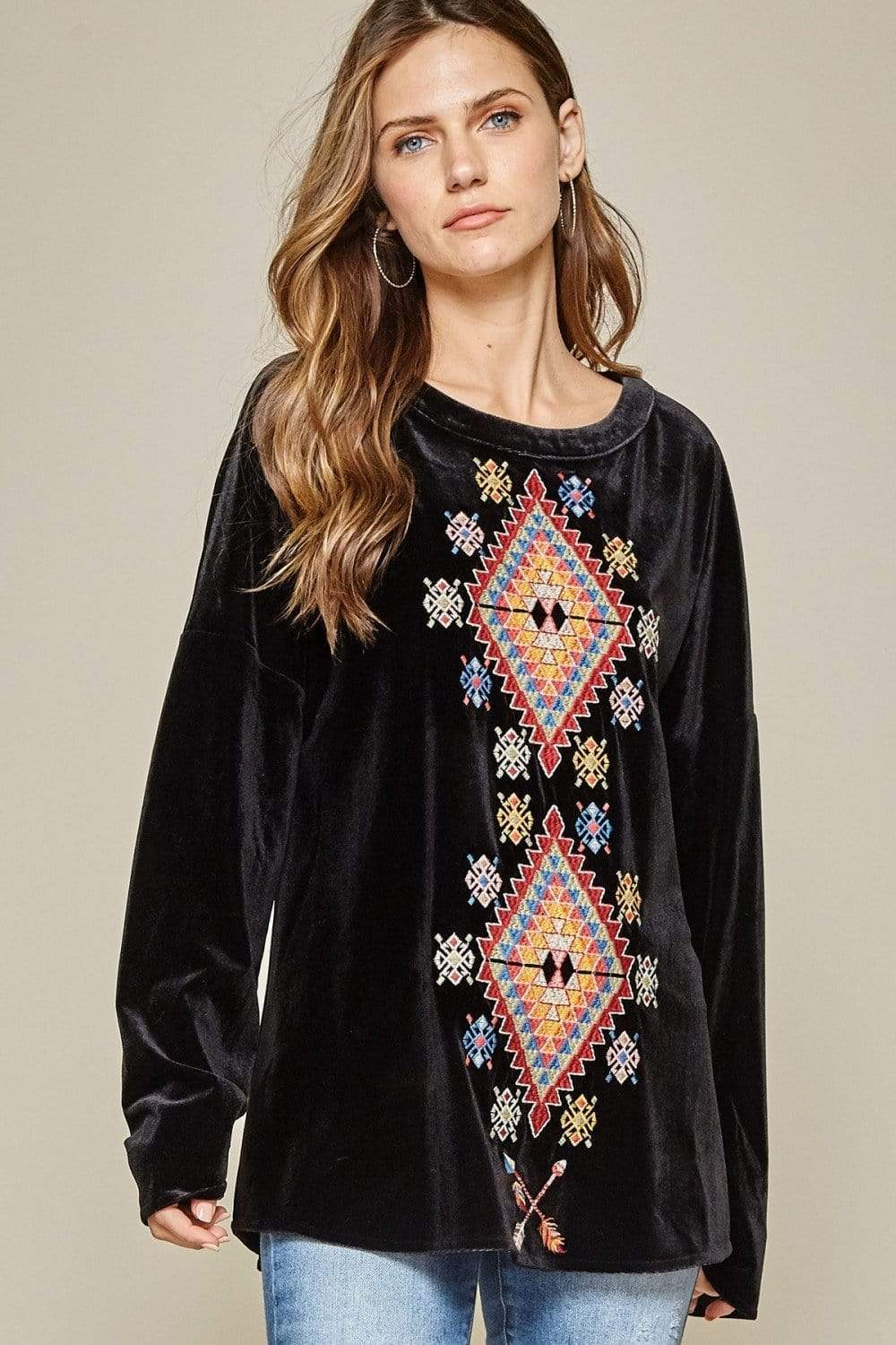 RESTOCKED Velvet Top With Embroidery Design