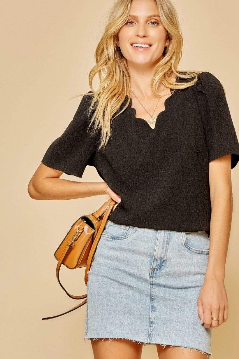 Sara Scalloped Neck Blouse - Black