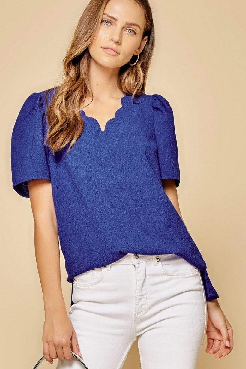 Sara Scalloped V Neck Blouse - Royal