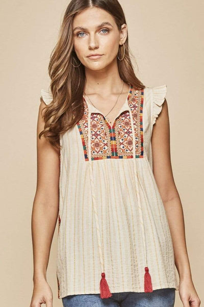 Andree by Unit Dressy Striped Embroidered Flutter Sleeve Top - Marigold