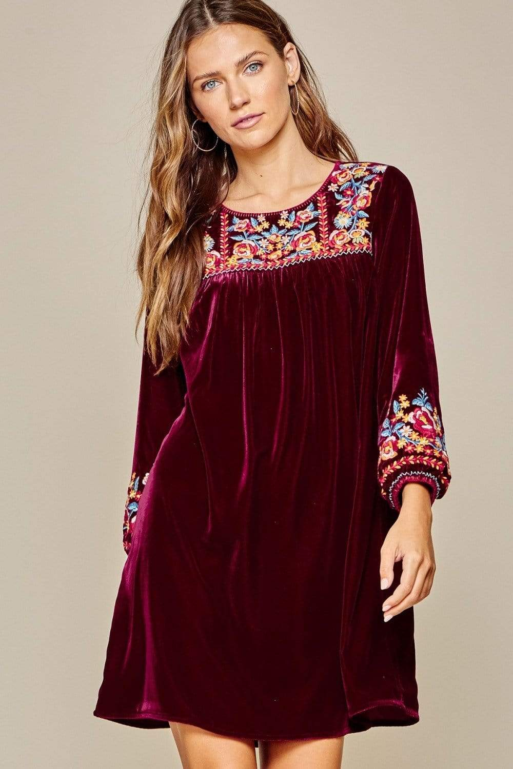 Andree by Unit Dressy Velvet Baby Doll Embroidered Dress-Wine