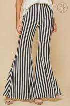 Andree by Unit Full Length SMALL Striped Flared Knit Pants - Black And White