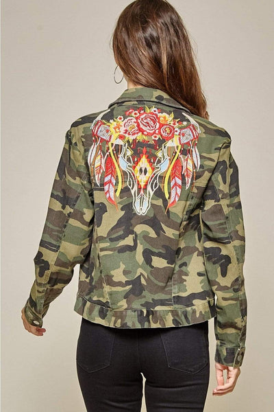 Andree by Unit Jackets Camo Jacket With Embroidery Detail-Camo