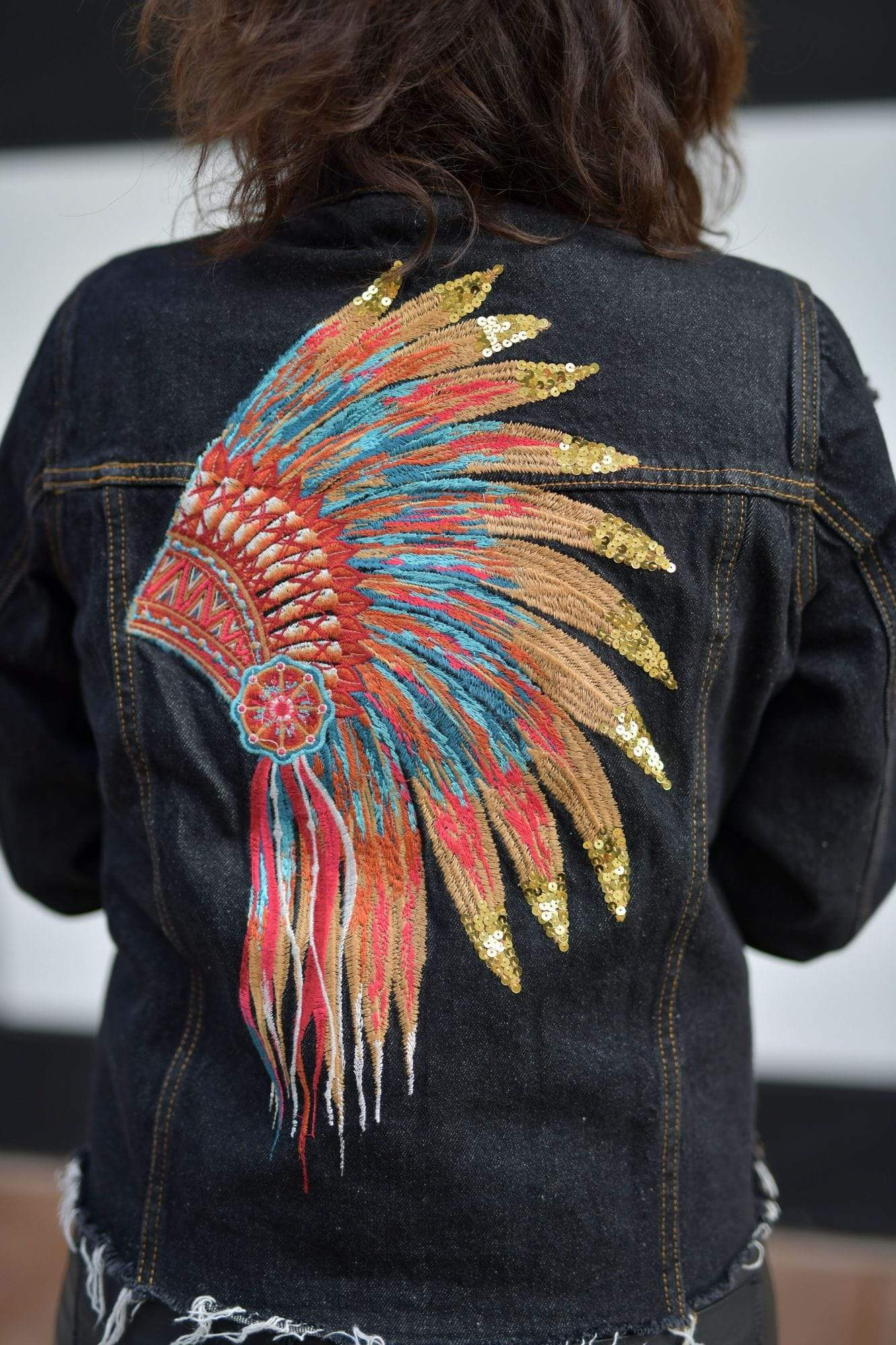 Andree by Unit Jackets Denim Jacket With Sequin Design On Back