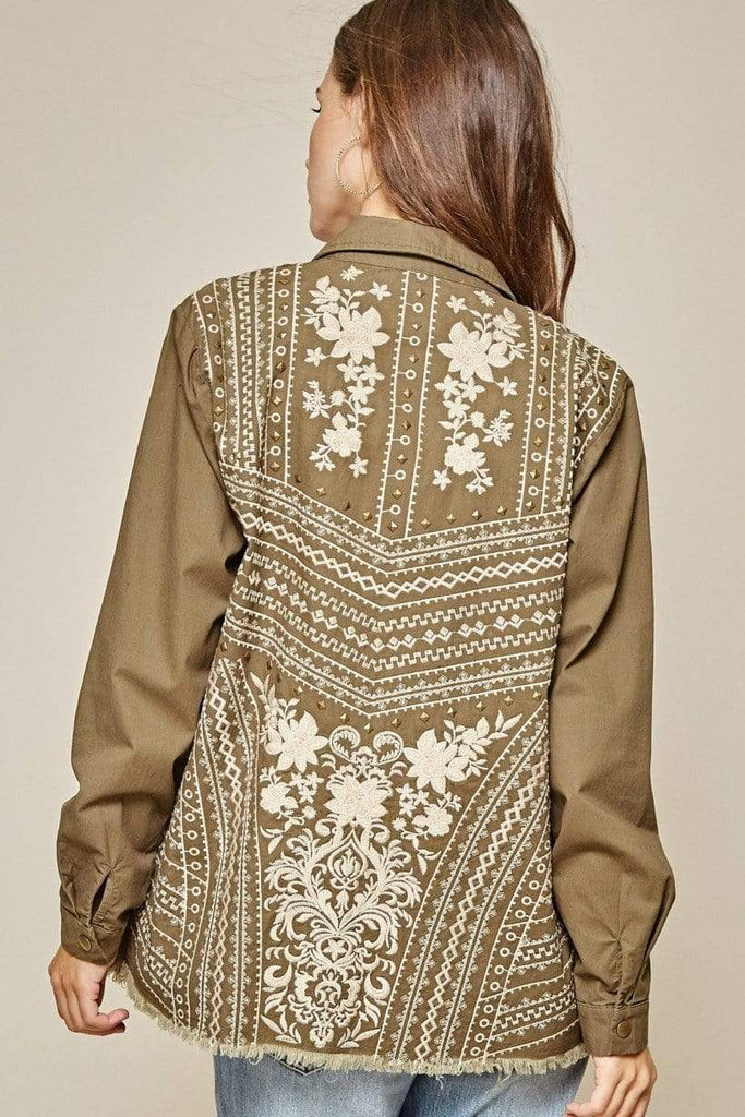 Andree by Unit Jackets Olive Jacket With Cream Embroidery and Metal Brads