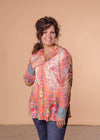 Aratta Dressy Coral Floral Sheer Embroidered Sleeve Top