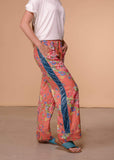 Aratta Full Length Coral Floral Pants With Velvet Tuxedo Stripe