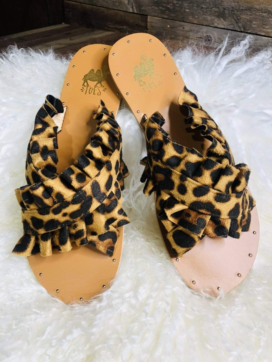Camel Threads Sandals Leopard Ruffle Sandals