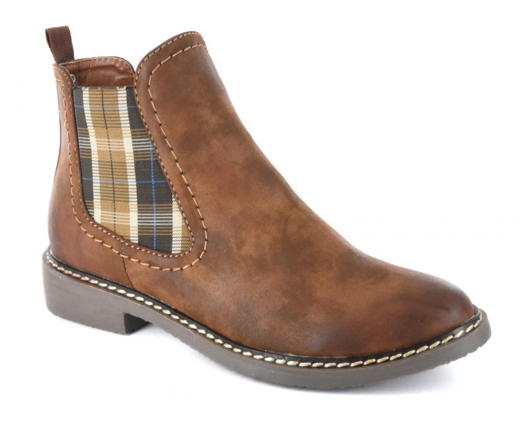 Brown Broom Plaid Bootie