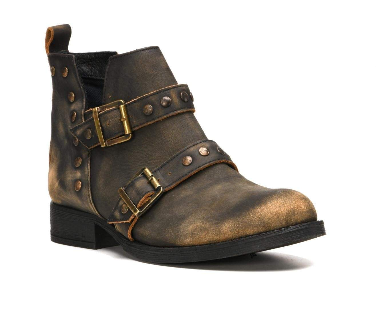 Delphi Distressed Leather Studded Booties