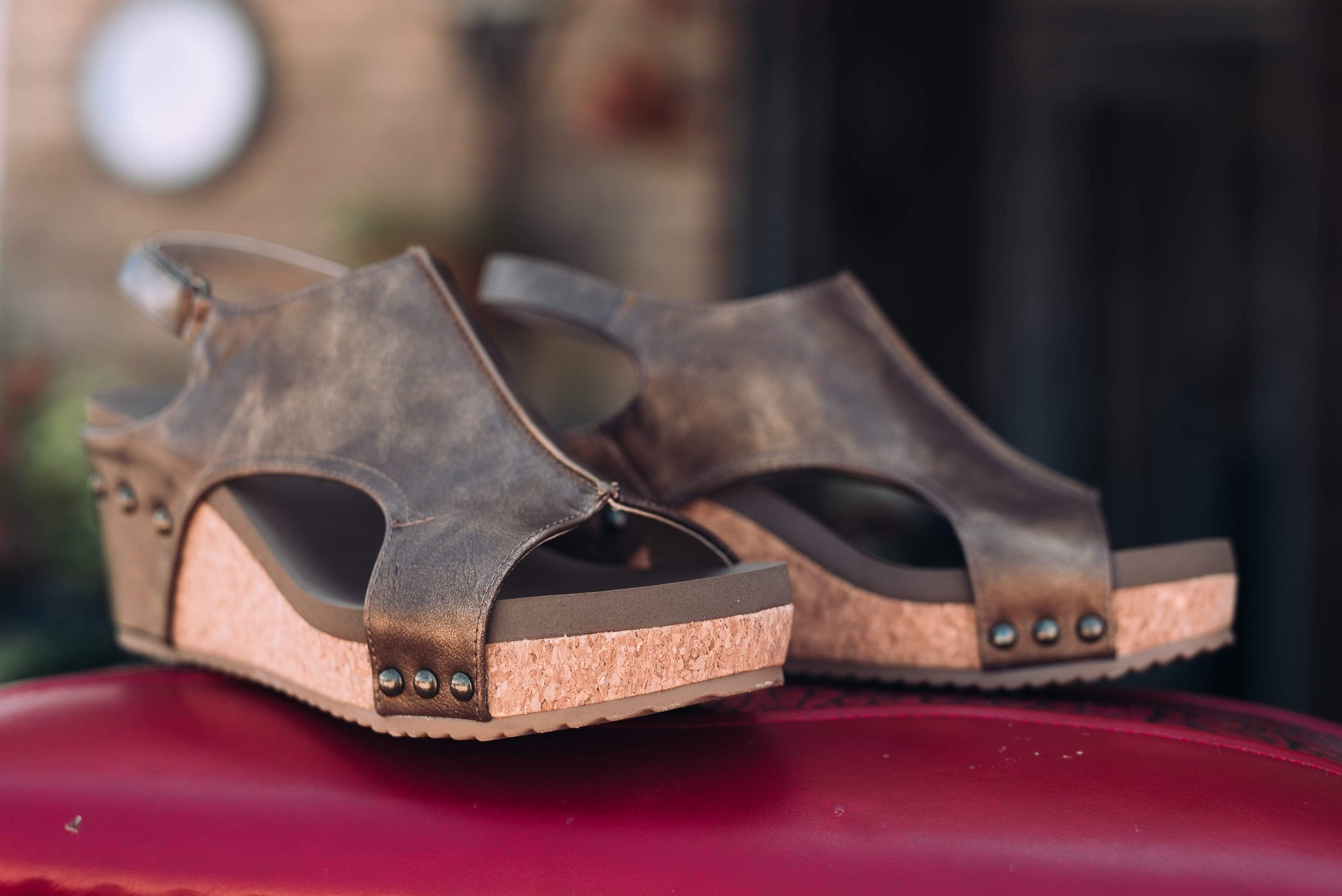 Carley Distressed Brown Comfy Wedge Sandals