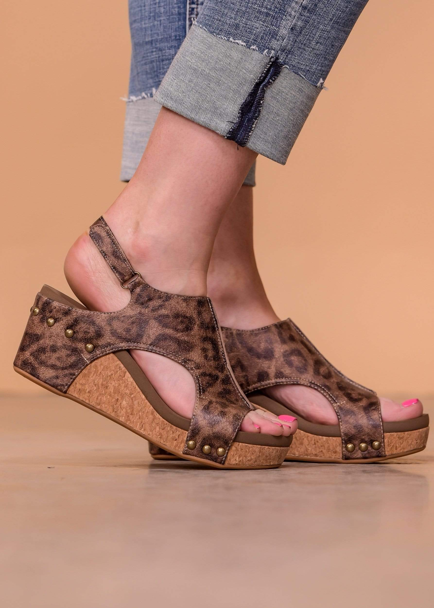 Carley Sandals - Distressed Leopard