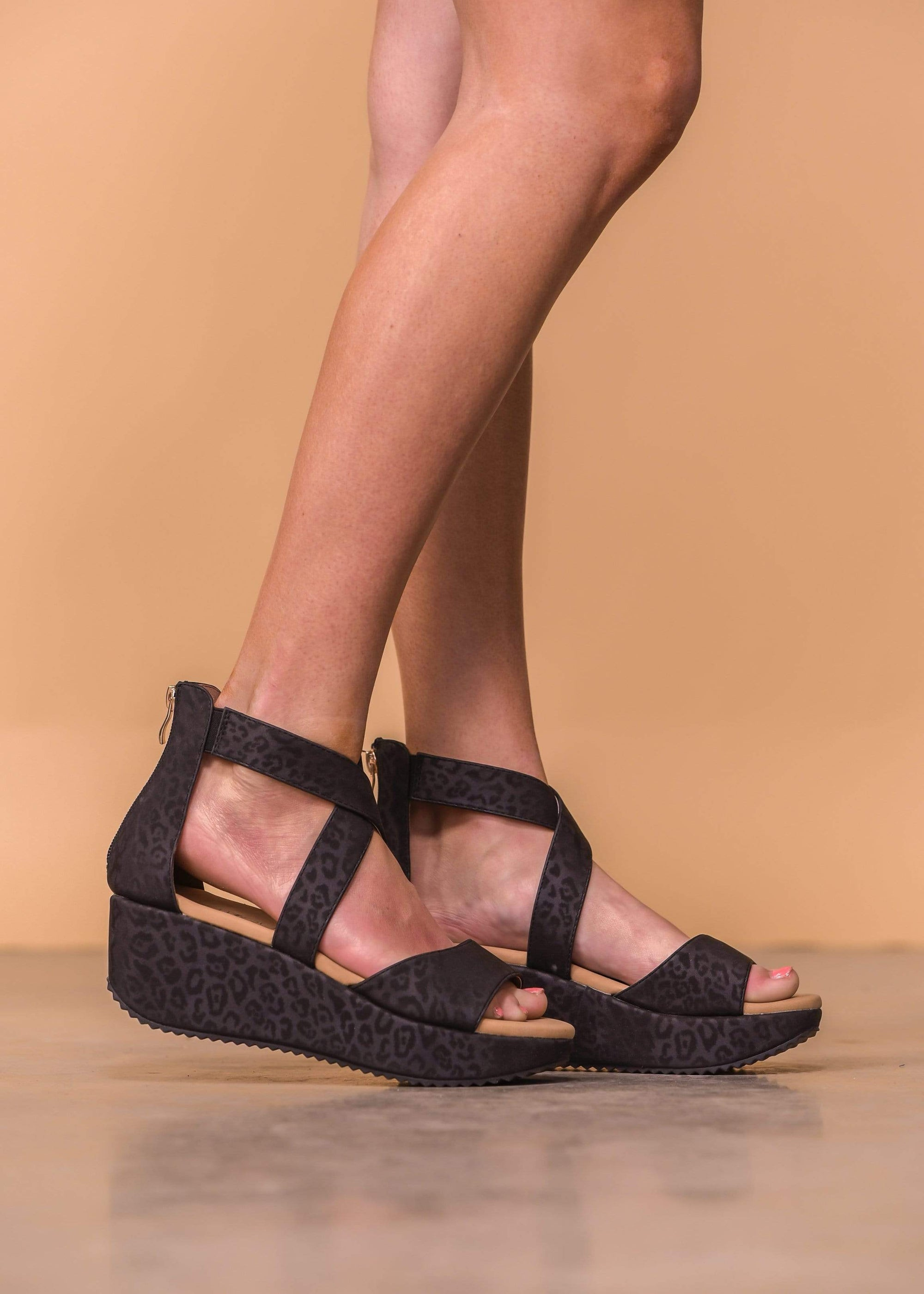 Fay Black Wedge Sandals - Leopard