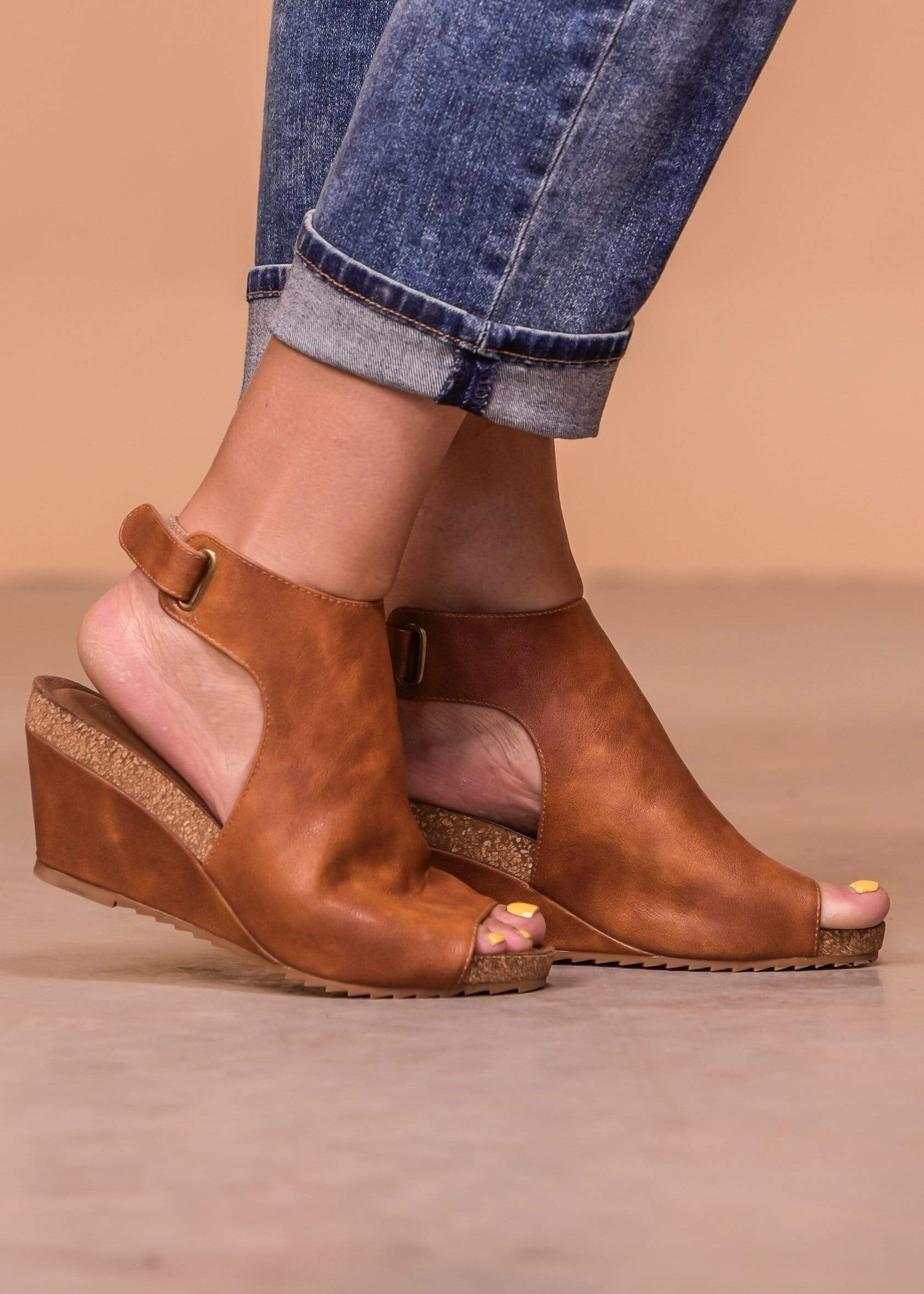 Peep Toe Sling Back Calypso Wedge - Cognac
