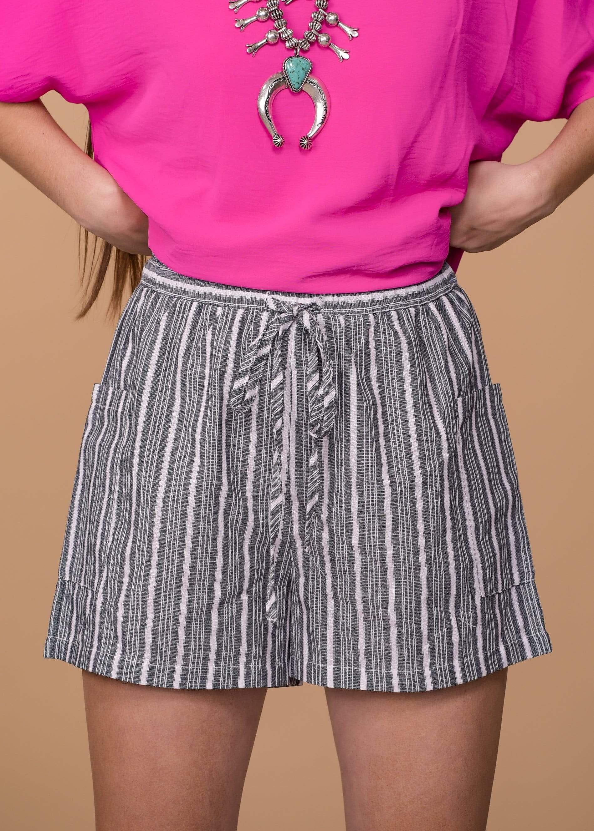 Striped Shorts With Tie Waist - Black